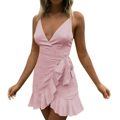 Sexy Womens Holiday  Lace Up Ladies Summer Pomisi Backless Beach  Party Dress CA