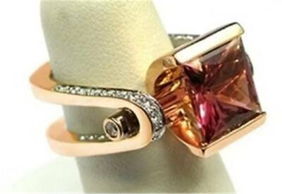 18K Rose Gold Plated Natural Garnet White Topaz Fashion Ring Jewelry Size 6-10