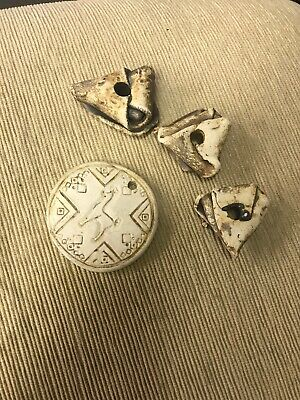 Lot of  4 Vintage Ceramic Macrame Beads