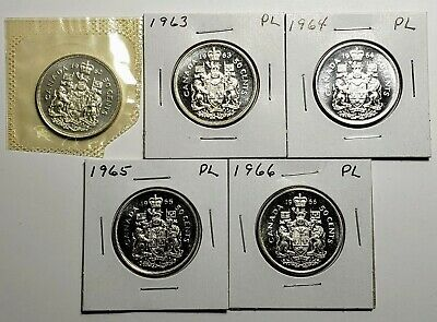 1962 1963 1964 1965 1966 Canada Silver 50 Fifty Cent Coin Lot Proof Like