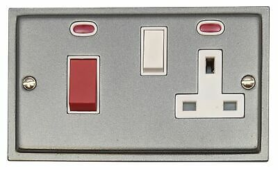 G&H HP29W Highline Plate Pewter 45 Amp DP Cooker Switch & 13A Switched Socket