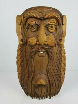 Vintage Face Mask Oriental Wooden Head Sculpture Wise Man One 36CM