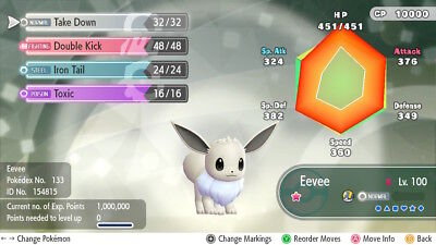 Pokemon Let's Go Shiny Eevee Max 6IV / AV [Fast Delivery] Original Owner