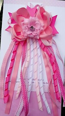 Girls Pretty Pastel Pink White Multi Summer Flower Hair Bow Bobble Corker Ribbon
