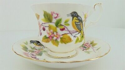 ROYAL ALBERT CUP & SAUCER Granny Chic China BALTIMORE ORIOLE WOODLAND SERIES
