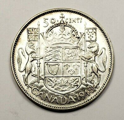 Canada 1948 Silver 50 Cents Partial Plugged 4 Hearing Aid Variety Coin