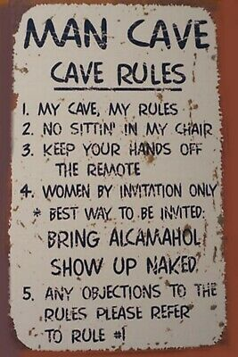 Man Cave Rules DECOR SIGN 4x6 Fridge Magnet Bar Toolbox Shop Refrigerator Photo