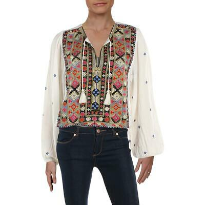 8a54af7c Free People Womens Enter Loveland White Embroidered Tassel Crop Top S BHFO  8895