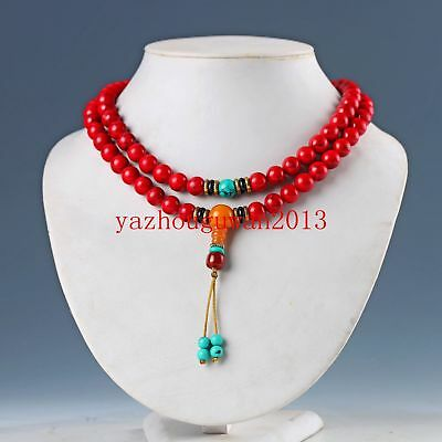 Exquisite Chinese Red Coral Hand Woven Necklaces Pendant