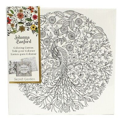 "Johanna Basford Colouring In Canvas - Secret Garden 12"" x 12"" Peacock"