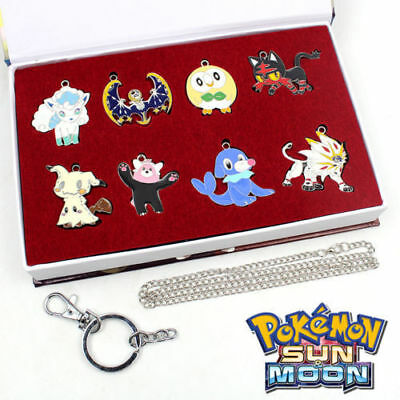 Anime Pokemon Sun Moon Necklace+Keychain+Box Pendant Cosplay Collection 8 pcs