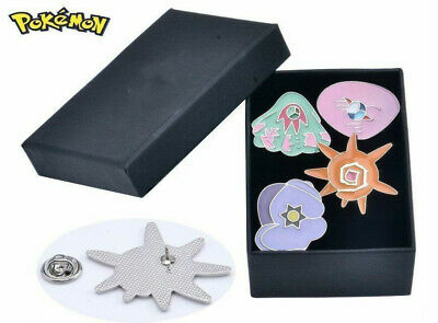 Pokemon Gym Silver Trim Badges :Orange Islands Set of 4 Pins Brooches in Box