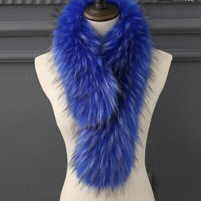 Womens Long Multicolour Faux Raccoon Fur Scarves Scarf Clip Warm Pom Pom