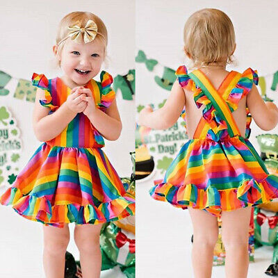 US Kids Baby Girl Rainbow Dress Sleeveless Princess Party Dress Summer Clothes