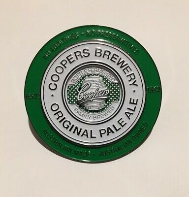 COOPERS GREEN PALE ALE METAL Brand New Unused Beer Decal Tap Badge Clean