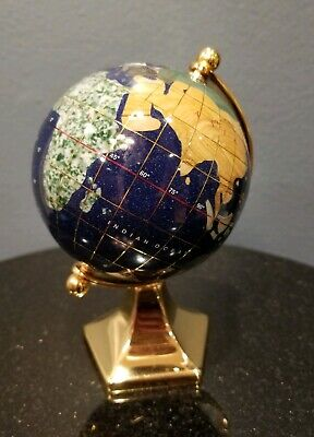 "Vintage Miniature Semiprecious Stone World Globe 5.5"" w Gold Plated Stand"