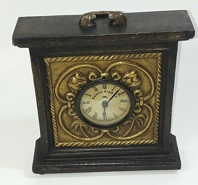 Colonial Replica Mantel Clock Wooden Vintage Retro Antique Distressed Style