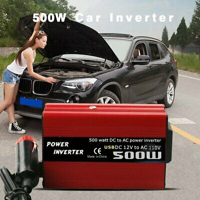 500W DC to AC Power Converter DC 12V to 110V 220V AC Car Inverter +Dual USB Red