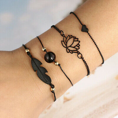 4Pcs/Set Women Charm Love Heart Hollow Lotus Round Ball Leaf Bracelet Jewelry Co