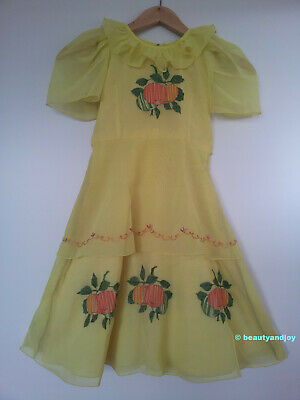 Vintage 70s Beautiful Light Yellow Fruits Embroidery Dress
