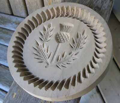 Farmhouse Vintage Wood Hand Carved Scotland? Thistle Butter Mold Springerle