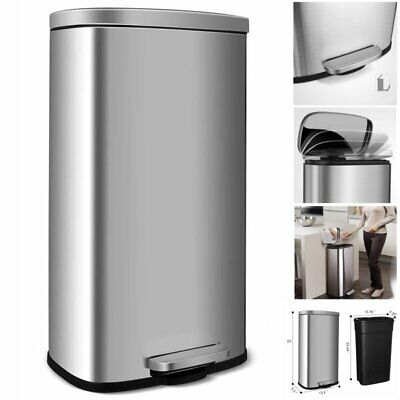 30L Stainless-Steel Trash Can Rectangular Garbage Bin with Lid and Inner Buckets