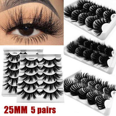 5 Pair 3D Mink Hair False Eyelashes Long Thick Fluffy Wispy Eye Lashes Extension