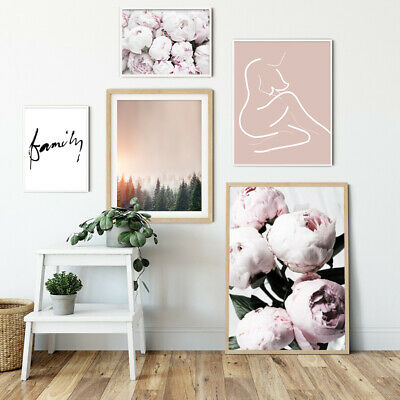 Peony Flower Forest Sunset Nordic Canvas Poster Abstract Wall Art Print Picture