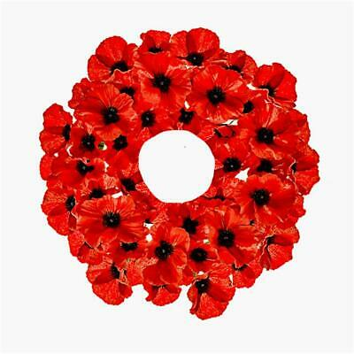 40cm Artificial Bright Red Poppy Wreath - 40+ Poppy Flowers - Remembrance Day