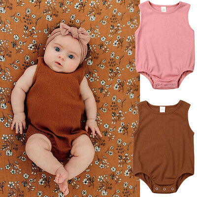 Newborn Kid Baby Girl Solid Color Jumpsuit Romper Crawling Suit Bodysuit Outfits