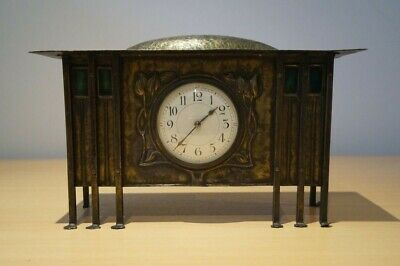 ANTIQUE ARTS & CRAFTS GLASGOW SCHOOL BRASS MANTEL CLOCK by GEORGE WALTON c1910