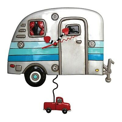 Allen Designs Silver and Blue Happy Campers Truck Pendulum Battery Wall Clock
