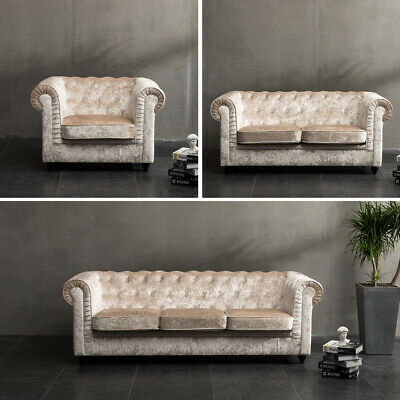 Chesterfield Buttoned Sofa Couch Tub Armchair Fabric Crushed Velvet 1+2+3 Seater
