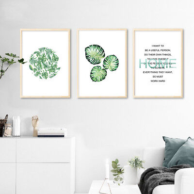 Watercolor Plants Leaf Canvas Poster Motivational Wall Art Print Home Decoration