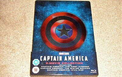 Captain America Trilogy Limited Edition Steelbook  / Region Free Blu Ray