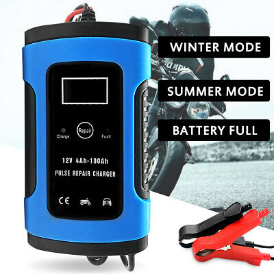 12V Pulse Repair Car Battery Charger LCD Display Intelligent Motorcycle Trickle