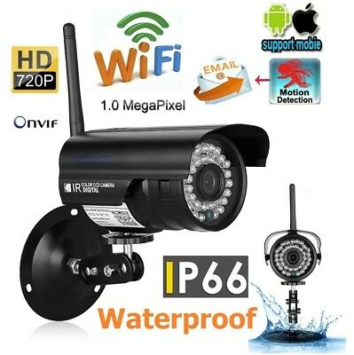 720P HD Wireleess WLAN CCTV Wifi IP Bullet Camera 1MP for Android IOS Monitor US