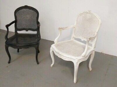 Pair VINTAGE French Provincial Cane Chairs// Louis XVI Style Cane Back and Seat
