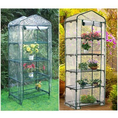 3/4/5 Tier PVC Mini Greenhouse Walk In Grow Bag Replacement Cover Plastic Garden