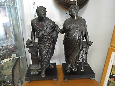 Pair of Large Antique classical Victorian spelter figure's on marble bases