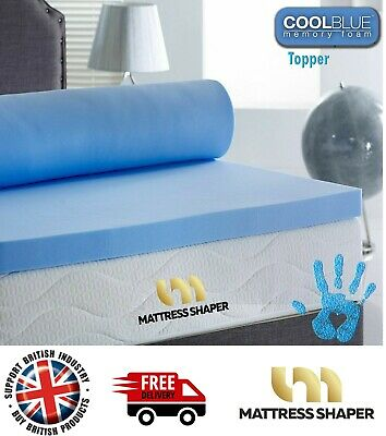 100% Memory Foam Coolblue Mattress Topper  In All Sizes And Depths - No Cover