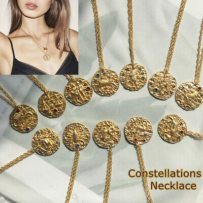 Carved Coin Pendant  Long Chain Necklace Twelve Constellations Women Jewelry
