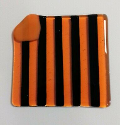 Jane Field Fused Glass Heart Striped Handmade Coaster in  Gift Box