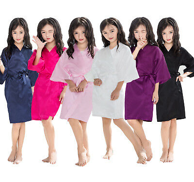 Solid Clour Silk Satin Girls Child Kimono Robe Nightwear Wedding Gown dressing