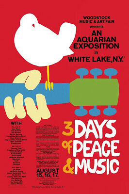 Woodstock Festival 24 x 36 Classic Music Red Concert Poster