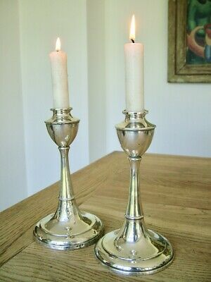 Antique Solid English Silver Arts & Crafts Candlesticks No Reserve
