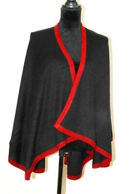 Cashmere Poncho Cape Black Shawl Scarf Pashmina Wrap Knitted Handwoven in Nepal