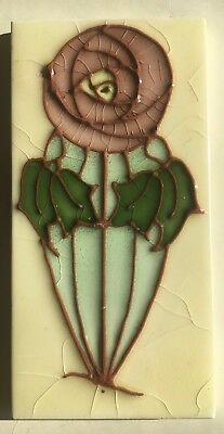 Antique Sherwin Art Nouveau Macintosh Rose Tube Lined Tile