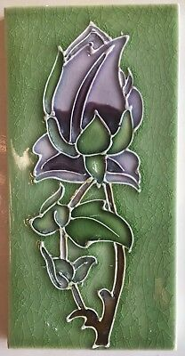 Antique Art Nouveau Stylized Tube Lined 3 color Rose England Tile