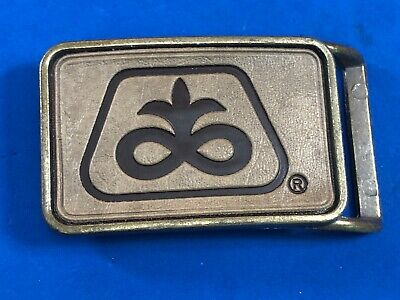 Vintage? Pioneer Seed COMPANY?  farming country Brass tone Logo Belt Buckle